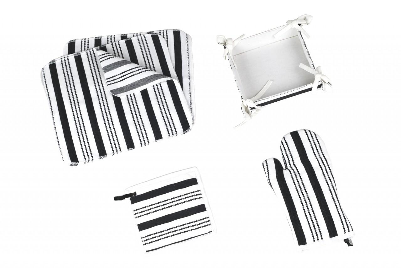 Set 15 piese de bucatarie, 100% bumbac, Black&White