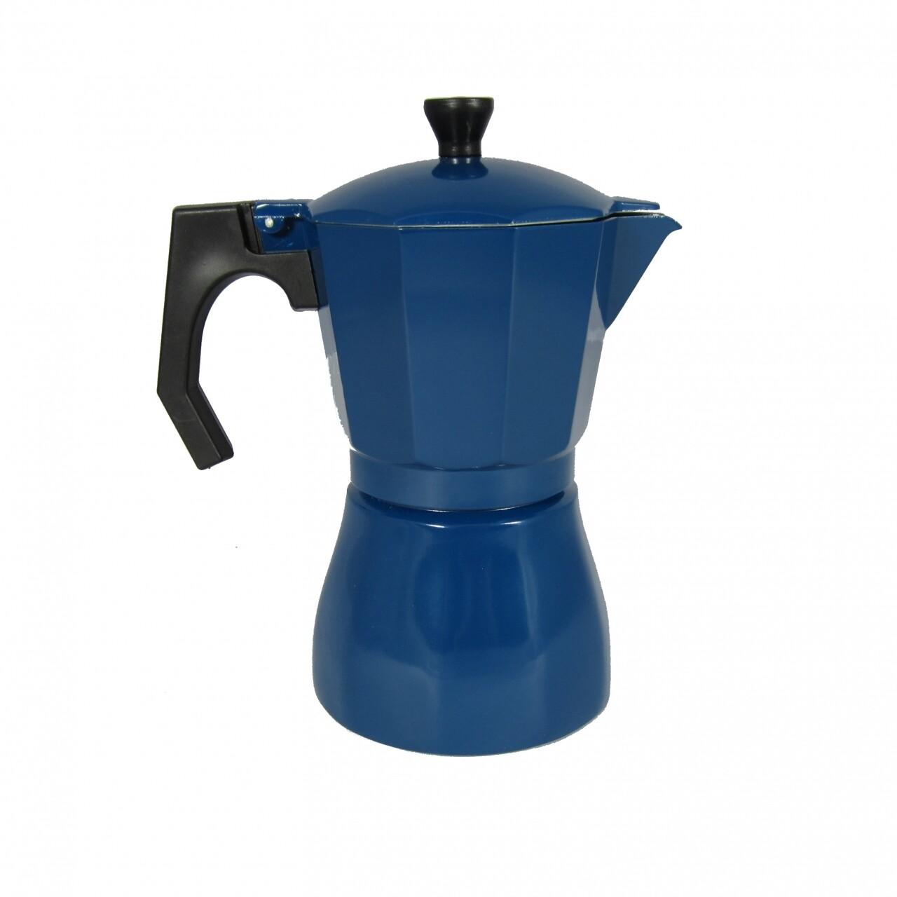 Cafetiera Italian Garneti, Jocca, 10 x 16 x 19 cm, aluminiu, albastru inchis