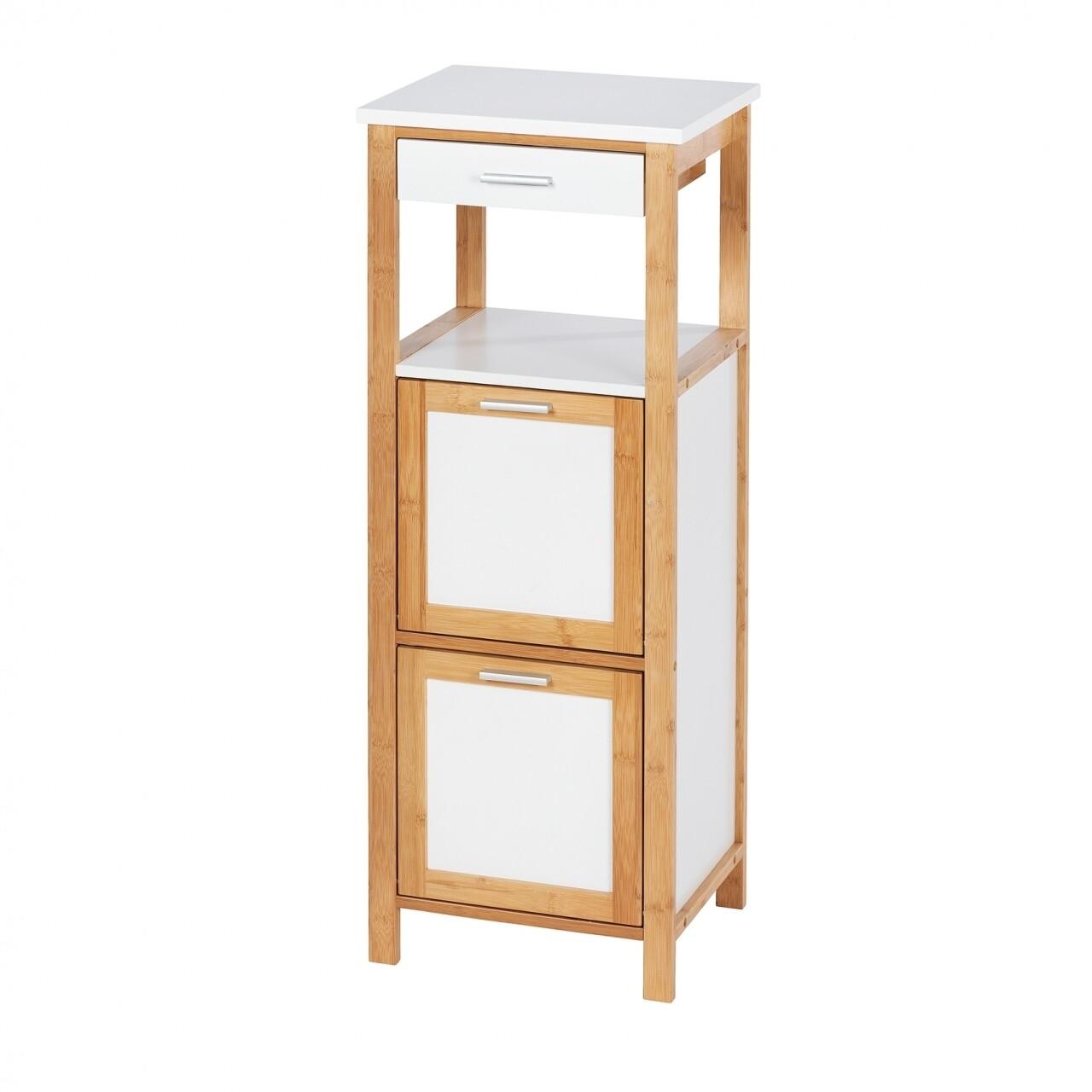 Dulap pentru baie cu 2 compartimente și 1 sertar, Wenko Finja, bambus