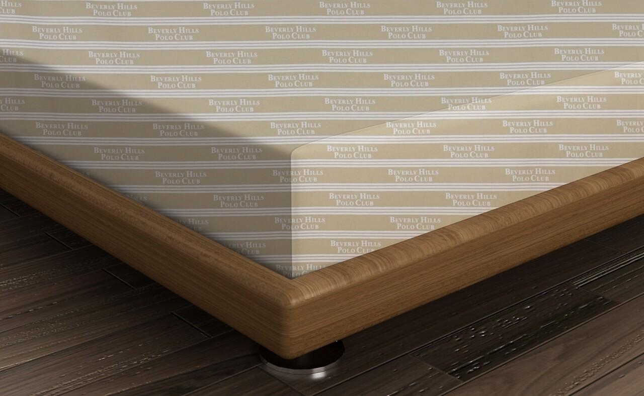 Cearceaf de pat pentru o persoana BHPC 013 - Cream, Beverly Hills Polo Club, 180x240 cm, 100% bumbac ranforce, alb/crem