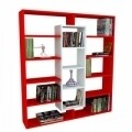 Biblioteca Wooden Art, Ample Red White, 125x135.7x22 cm