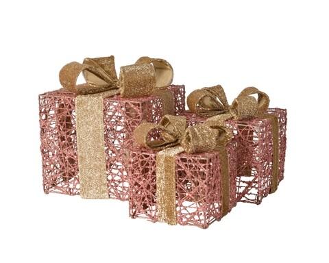 Set 3 cutii decorative Decoris, metal, roz/auriu