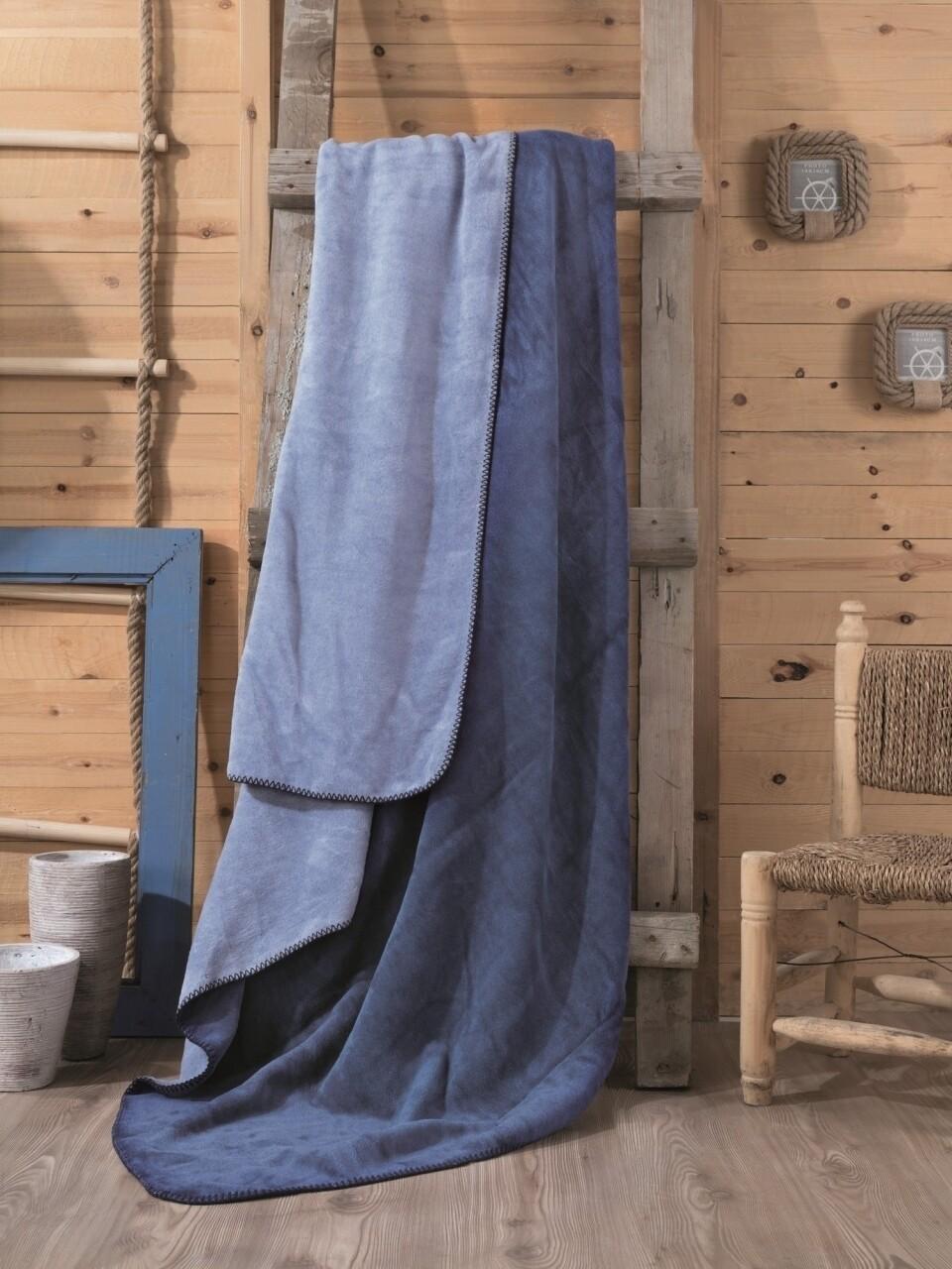 Patura pentru pat dublu din bumbac si acrylic, 200x200 cm, Cotton Box, albastru