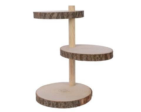 Etajera rotunda, Decoris, 3 rafturi, lemn