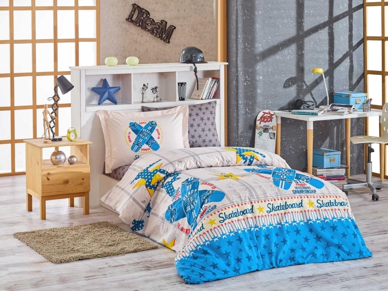 Lenjerie de pat pentru o persoana, 3 piese, 100% bumbac poplin, Hobby, Skateboard, albastru/bej