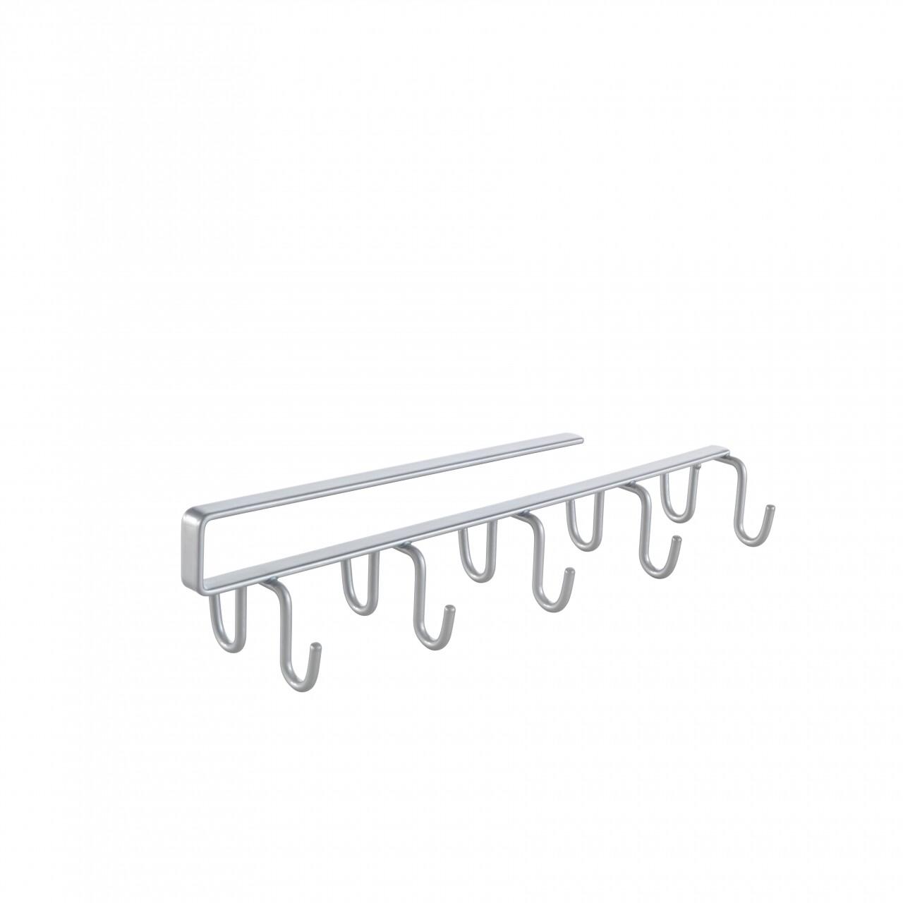 Suport cani pentru dulap Multi Hooks, Metaltex,  8x5x25 cm, inox/invelis Polytherm, argintiu
