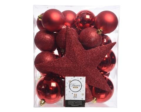Cutie cu 33 globuri asortate si varf de brad Star, Decoris, plastic, rosu