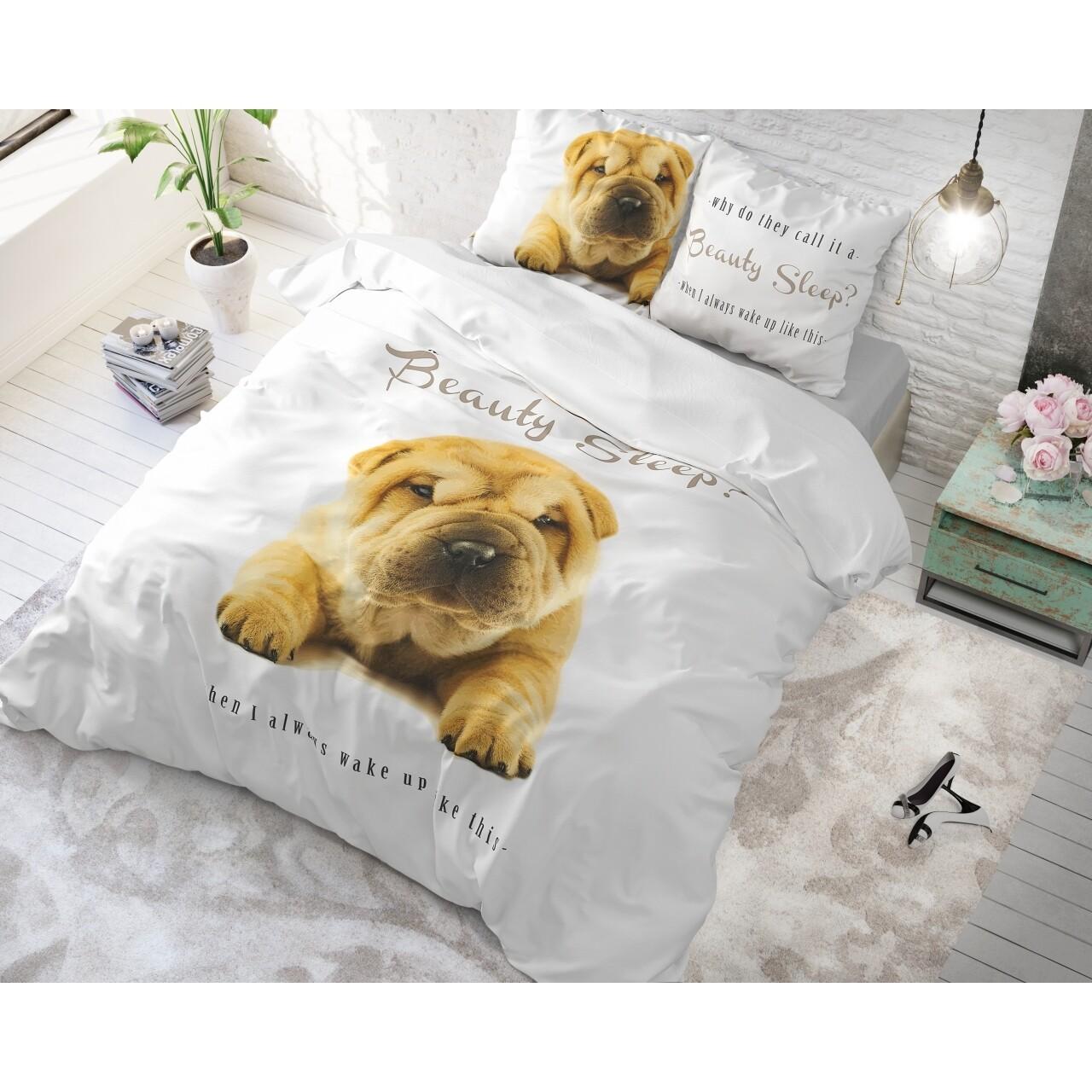 Lenjerie de pat dubla Beauty Sleep White, Royal Textile, 3 piese, 200 x 220 cm, 100% bumbac, multicolora