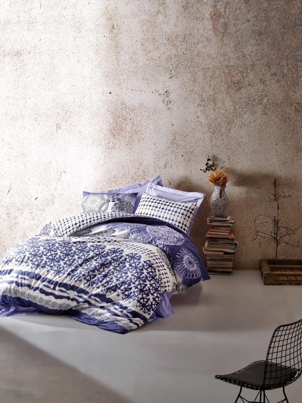 Lenjerie de pat pentru o persoana, 3 piese, 100% bumbac ranforce, Cotton Box, Lucca