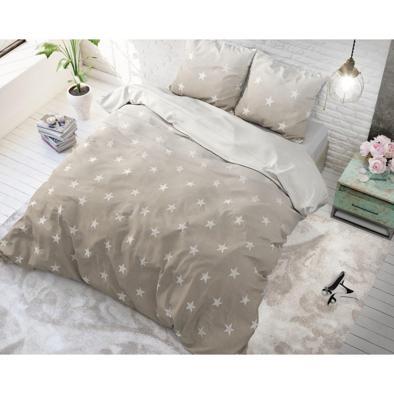 Lenjerie de pat dubla Twinkle Stars Sand, Sleeptime, 3 piese, 200 x 220 cm, cotton blended, crem cu alb