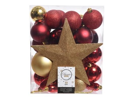 Cutie cu 33 globuri asortate si varf de brad Star, Decoris, plastic, rosu/auriu