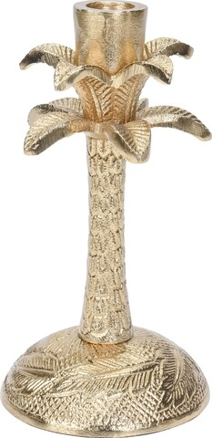 Suport pentru lumanare Flower, 10x10x18 cm, aluminiu, auriu