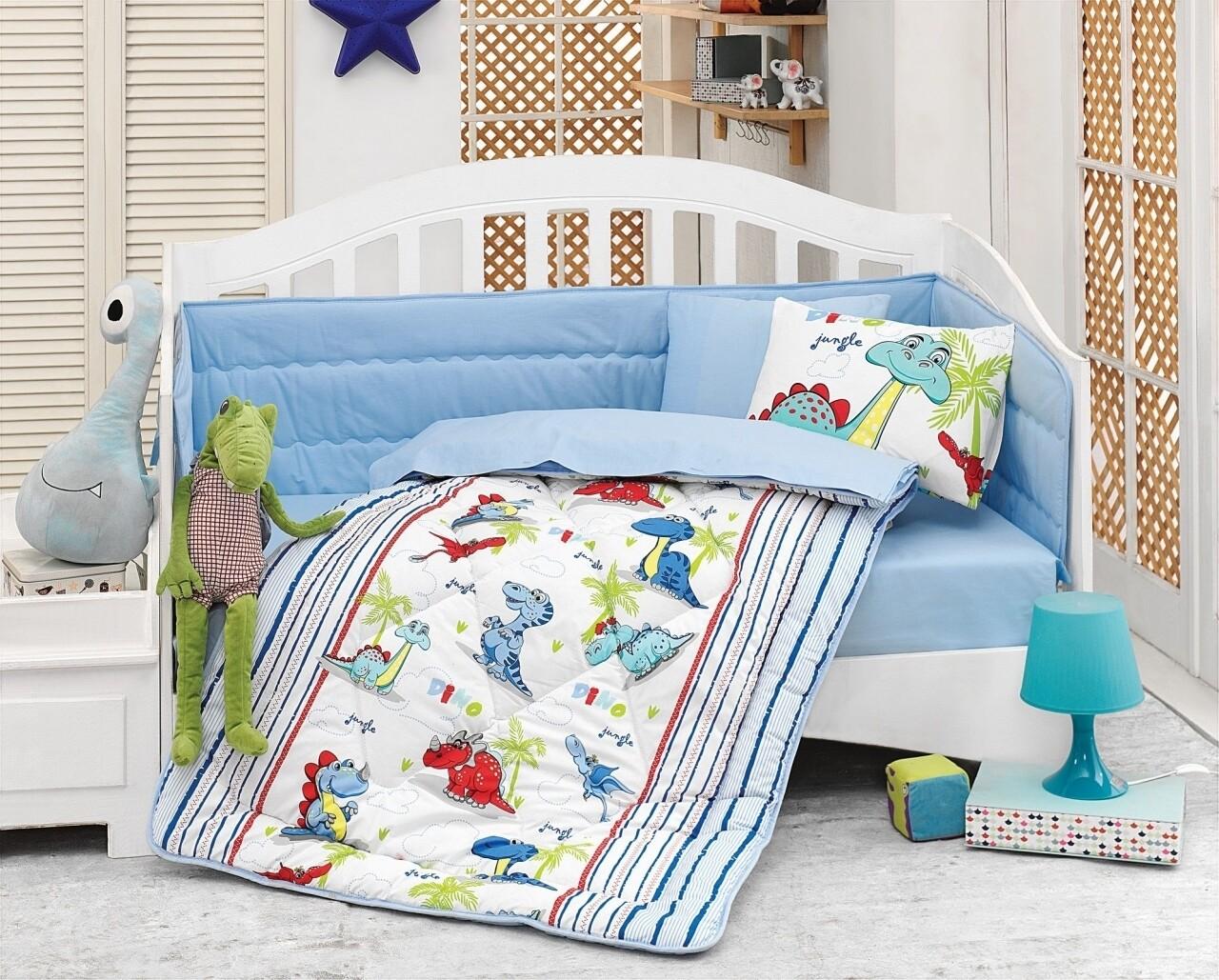Set de pat pentru copii, 6 piese, 100% bumbac ranforce, Cotton Box, Dino