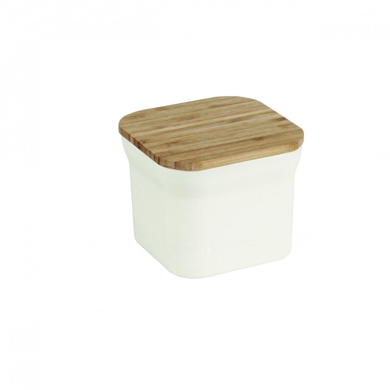 Cutie pentru alimente Bamboo, Jocca, 11.6 x 11.6 x 9.6 cm, bambus, alb/natur