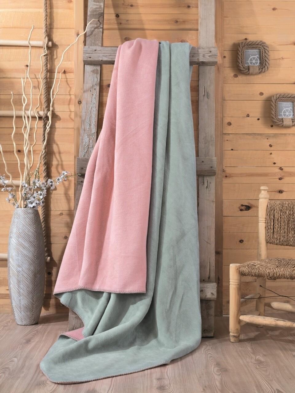 Patura pentru pat dublu din bumbac si acrylic, 200x200 cm, Cotton Box, roz/menta