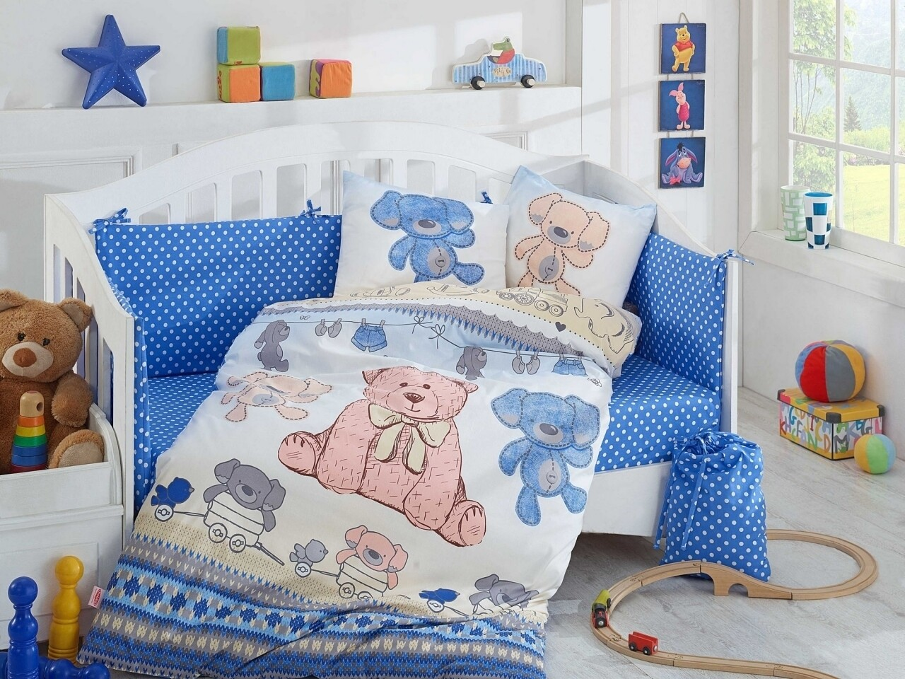 Lenjerie de pat pentru copii, 4 piese, 100% bumbac poplin, Hobby, Tombik, albastru
