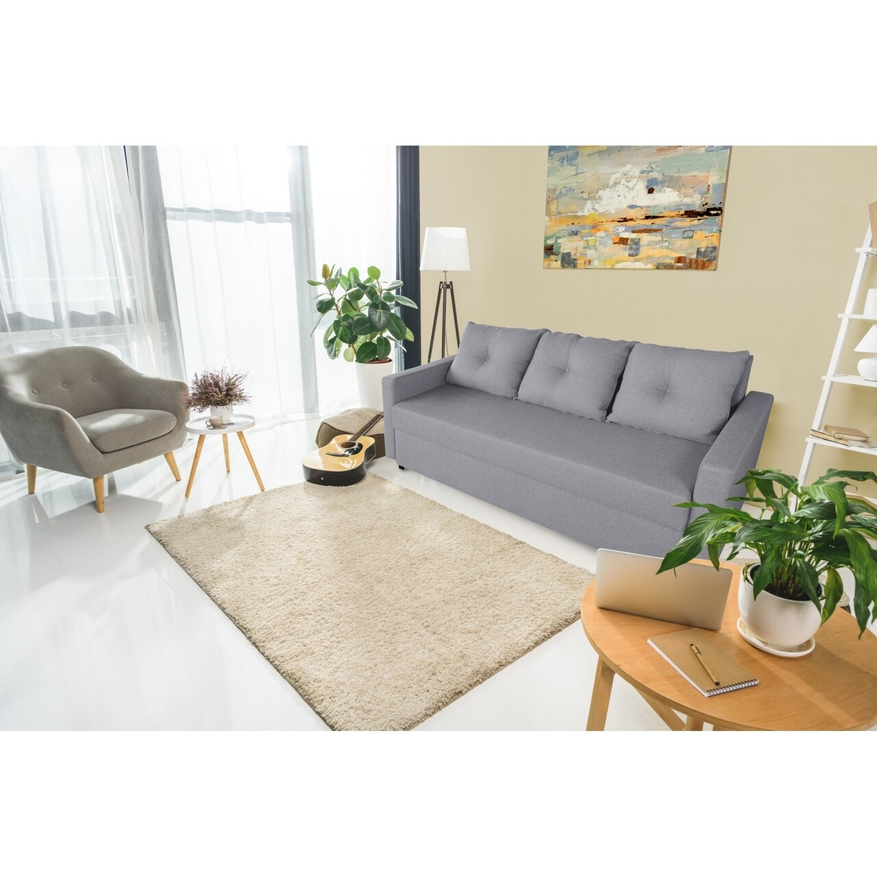 Canapea Firenze Lux Grey 218x85x85cm + ladă de depozitare, gri