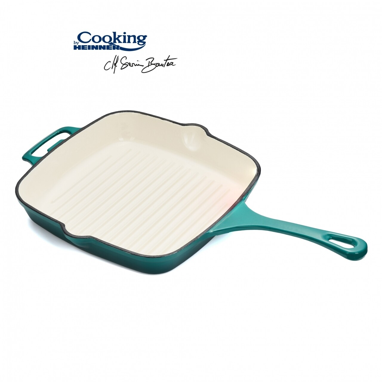 Tigaie grill emailata, Cooking by Heinner, 26.5 x 26.5 x 5 cm, fonta, bej si bleu