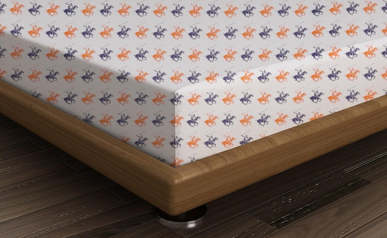 Cearceaf de pat dublu, 240x260 cm, 100% bumbac ranforce, Beverly Hills Polo Club, White/Dark Blue/Orange