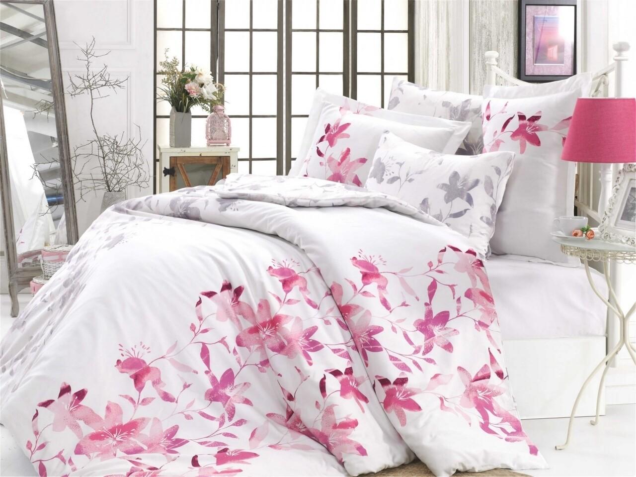 Lenjerie de pat dubla, 6 piese, 240x260 cm, 100% bumbac satinat, Hobby, Lucia Fuchsia, alb/roz