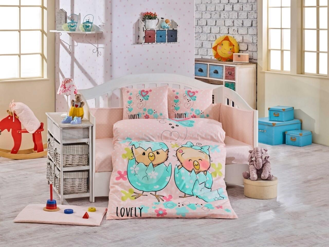 Lenjerie de pat pentru copii, 4 piese, 100% bumbac poplin, Hobby, Lovely, somon