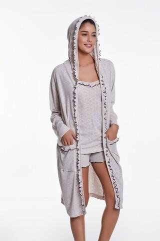 Set pijama cu pantaloni scurti si halat de casa, Luisa Moretti, LMS-4019, 100% bambus, natural, marimea 38/40 - M