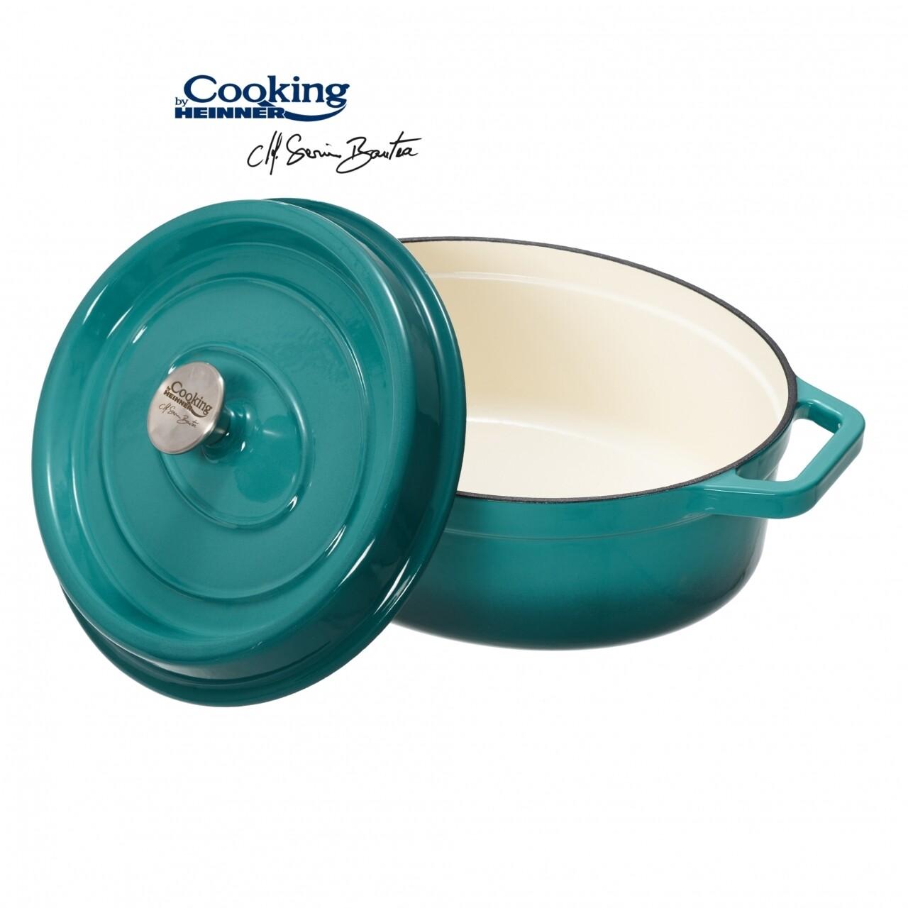 Cratita emailata, Cooking by Heinner, 5.9 l, fonta, bej si bleu