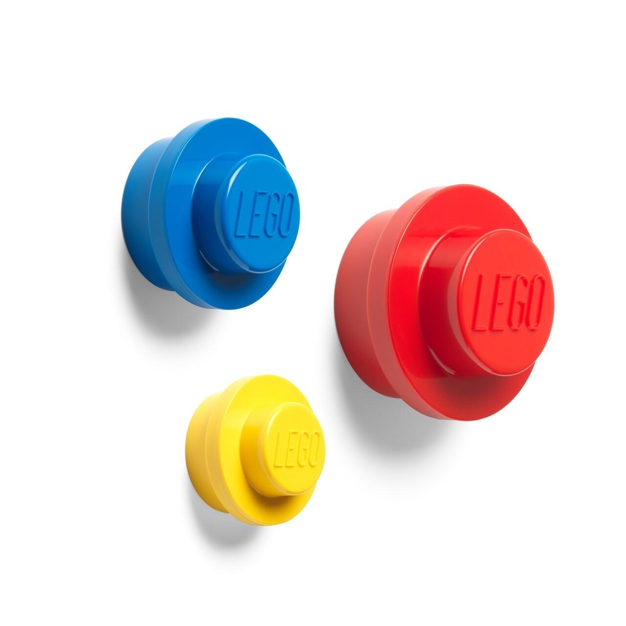 Set 3 carlige pentru perete LEGO, rosu/galben/albastru
