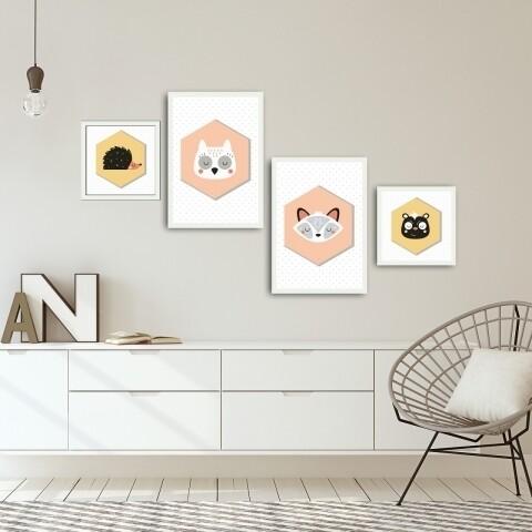 Set 4 tablouri decorative, Alpha Wall, Animals
