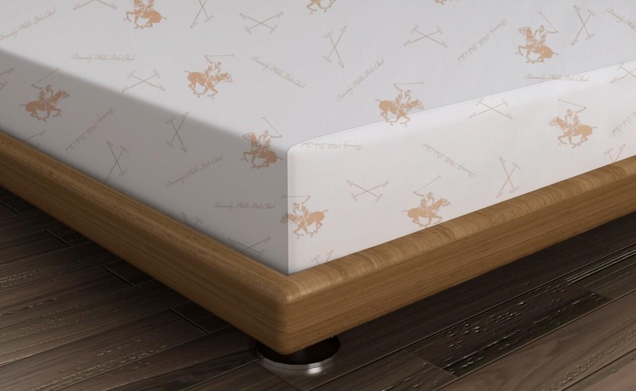 Cearceaf de pat pentru o persoana, 180x240 cm, 100% bumbac ranforce, Beverly Hills Polo Club, alb/somon