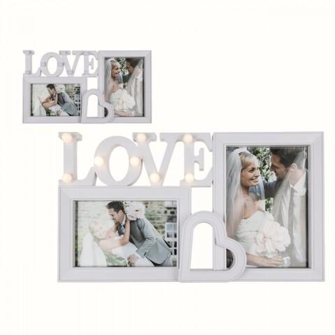 Rama foto Love LED, Out of the Blue, 2 fotografii, 22 x 32 cm, plastic, alb
