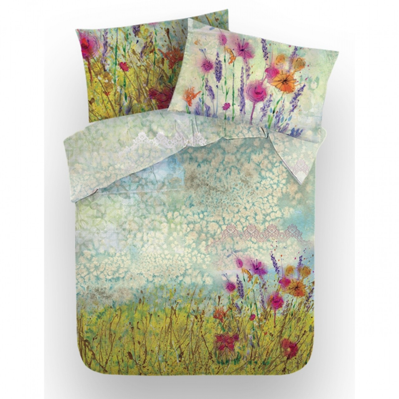 Lenjerie de pat dubla Light, Aglika, 3 piese, 200 x 220 cm, 100% bumbac, multicolora