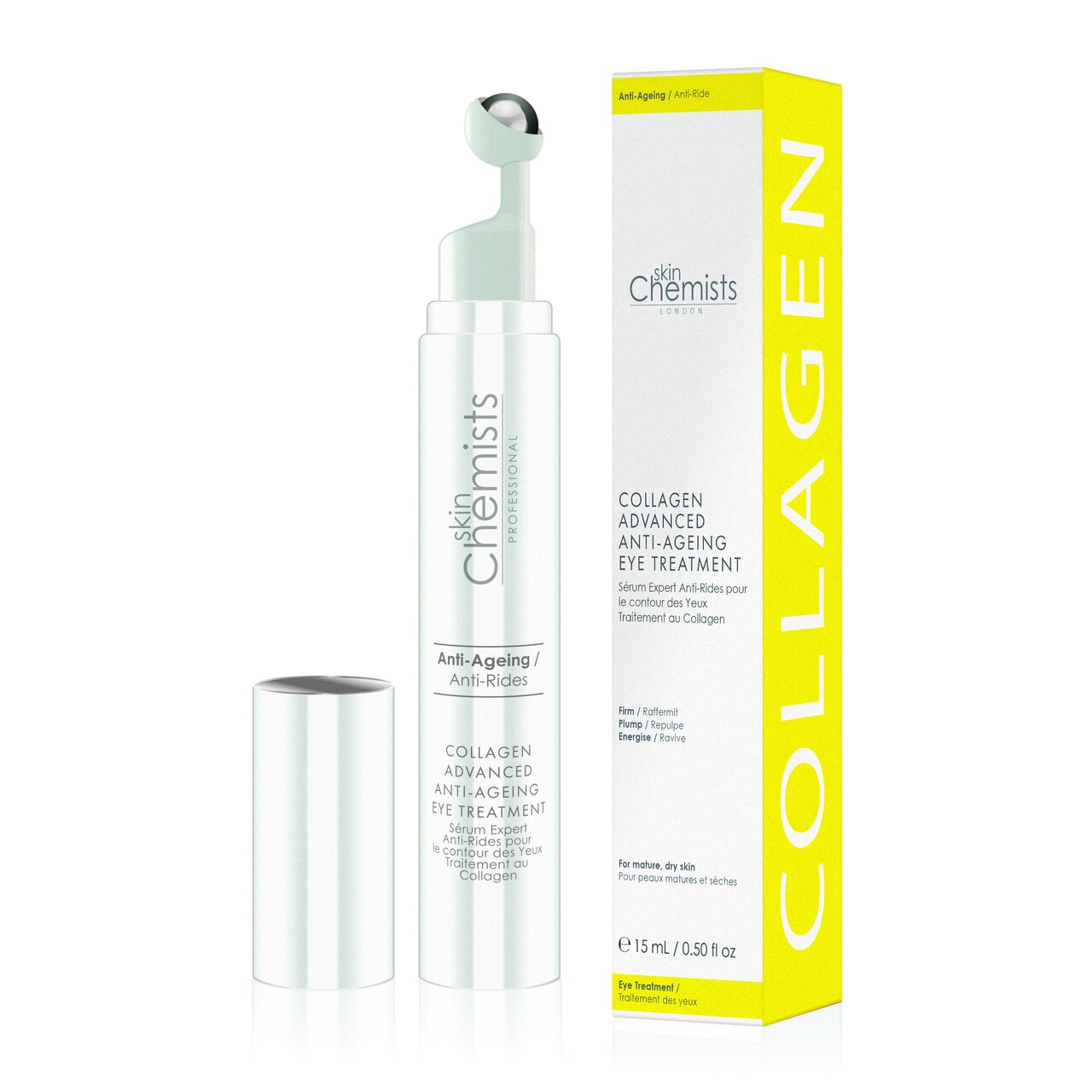Tratament anti-imbatranire pentru zona ochilor, SkinChemists, Collagen Advanced Anti-Ageing, 15 ml