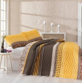 Set cuvertura de pat dubla, EnLora Home, Miranda Yellow, 3 piese, 65% bumbac, 35% poliester, multicolor
