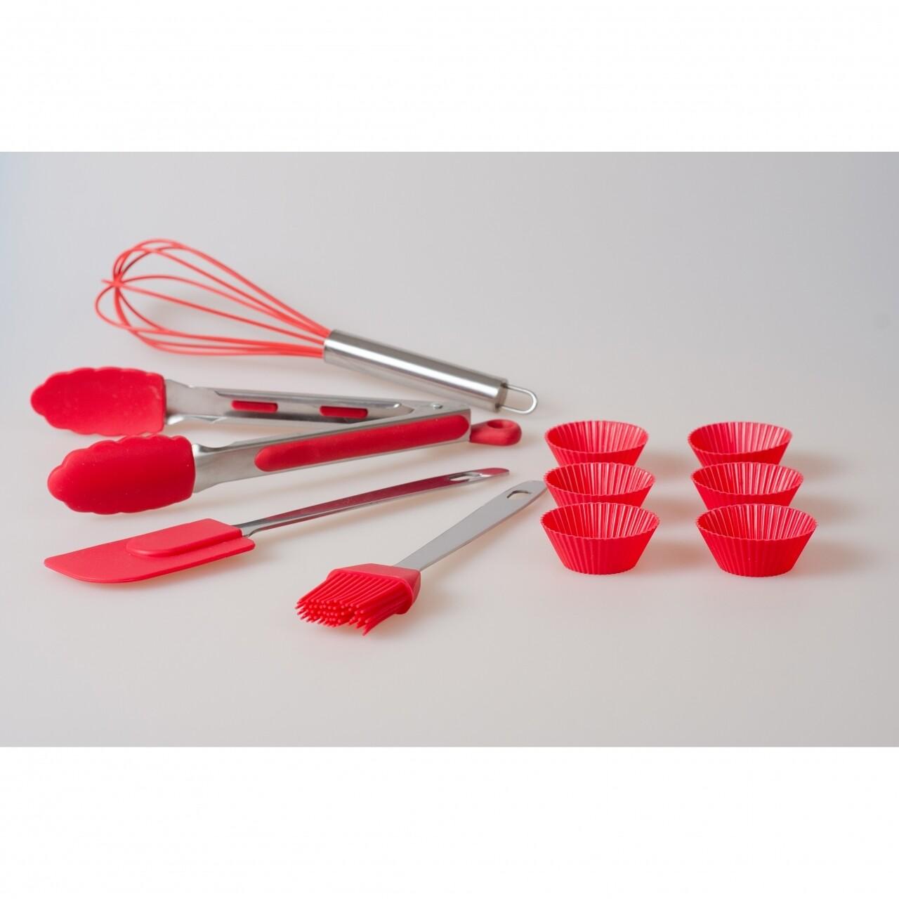 Set 10 ustensile pentru bucatarie, Jocca, silicon/otel inoxidabil, rosu