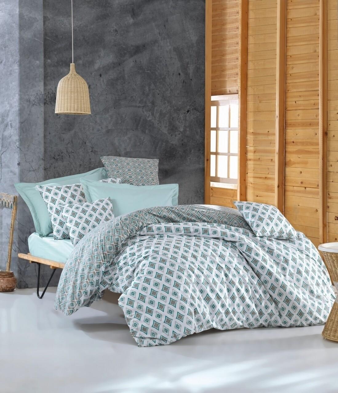 Lenjerie de pat pentru o persoana, 3 piese, 100% bumbac ranforce, Cotton Box, Enza