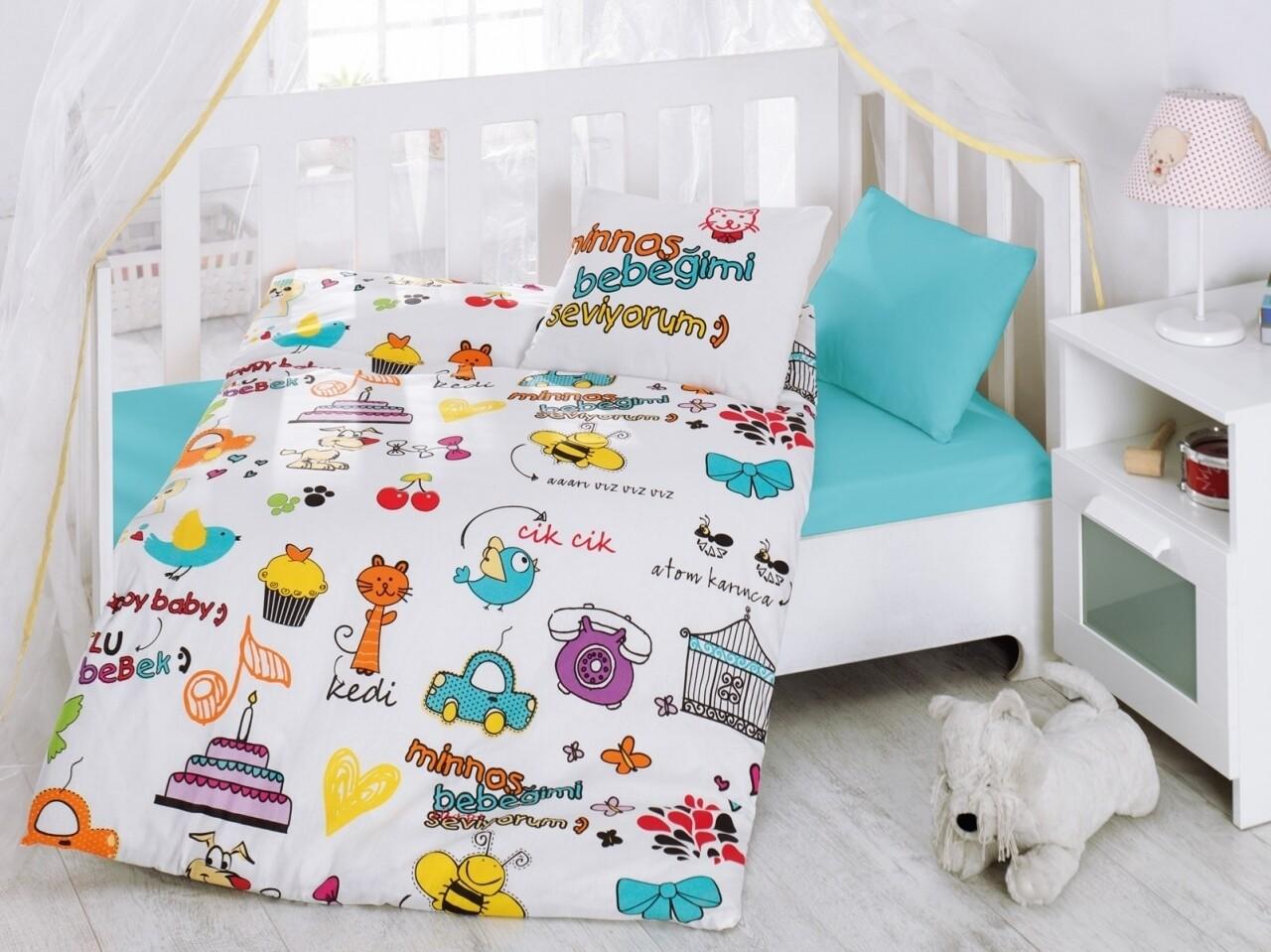 Lenjerie de pat pentru copii, 4 piese, 100% bumbac ranforce, Cotton Box, Bebegimi