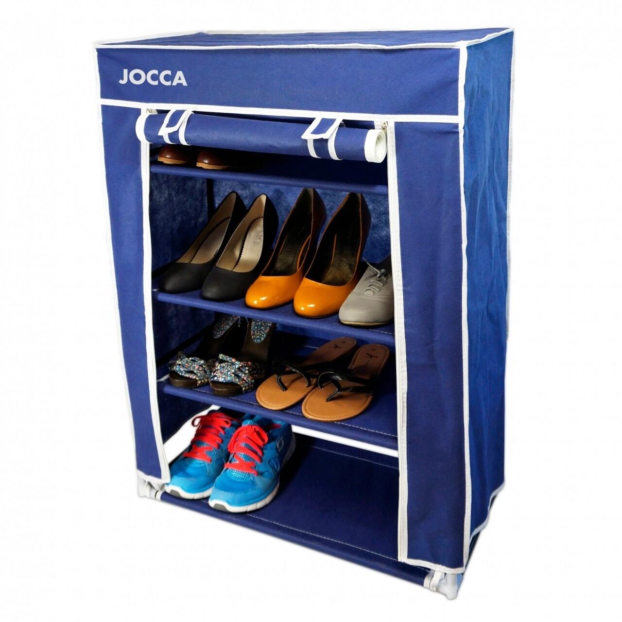 Organizator pentru pantofi Blue, Jocca, 30 x 60 x 80 cm, polipropilena/metal, albastru/alb
