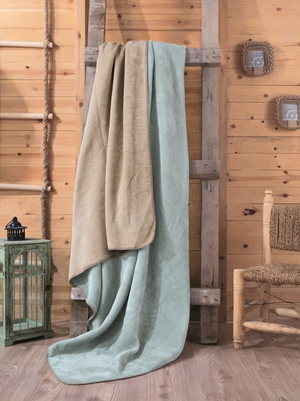 Patura pentru pat dublu din bumbac si acrylic, 200x200 cm, Cotton Box, menta/bej