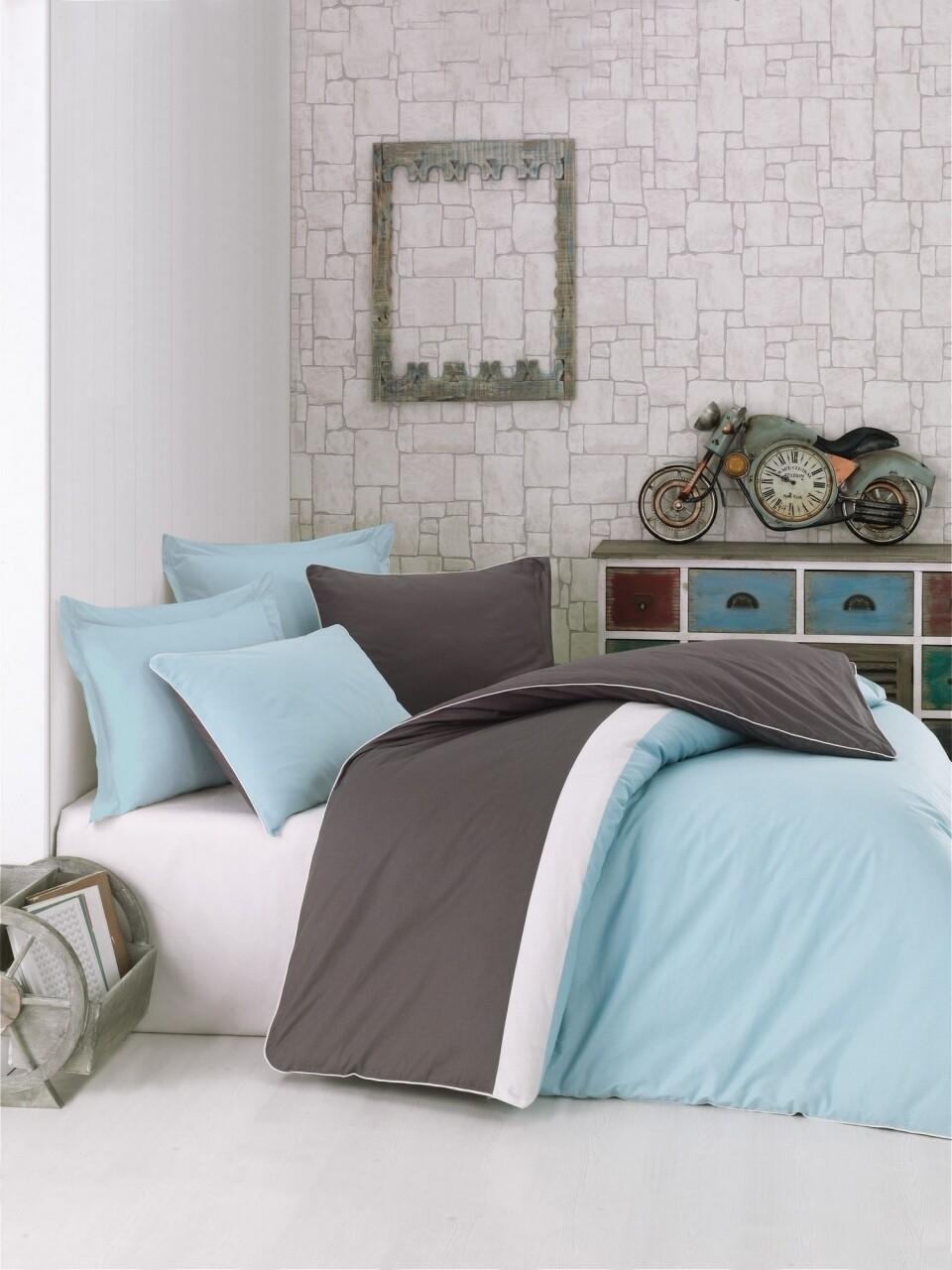 Lenjerie de pat pentru o persoana, 3 piese, 100% bumbac ranforce, Cotton Box, Plain Sport Mint
