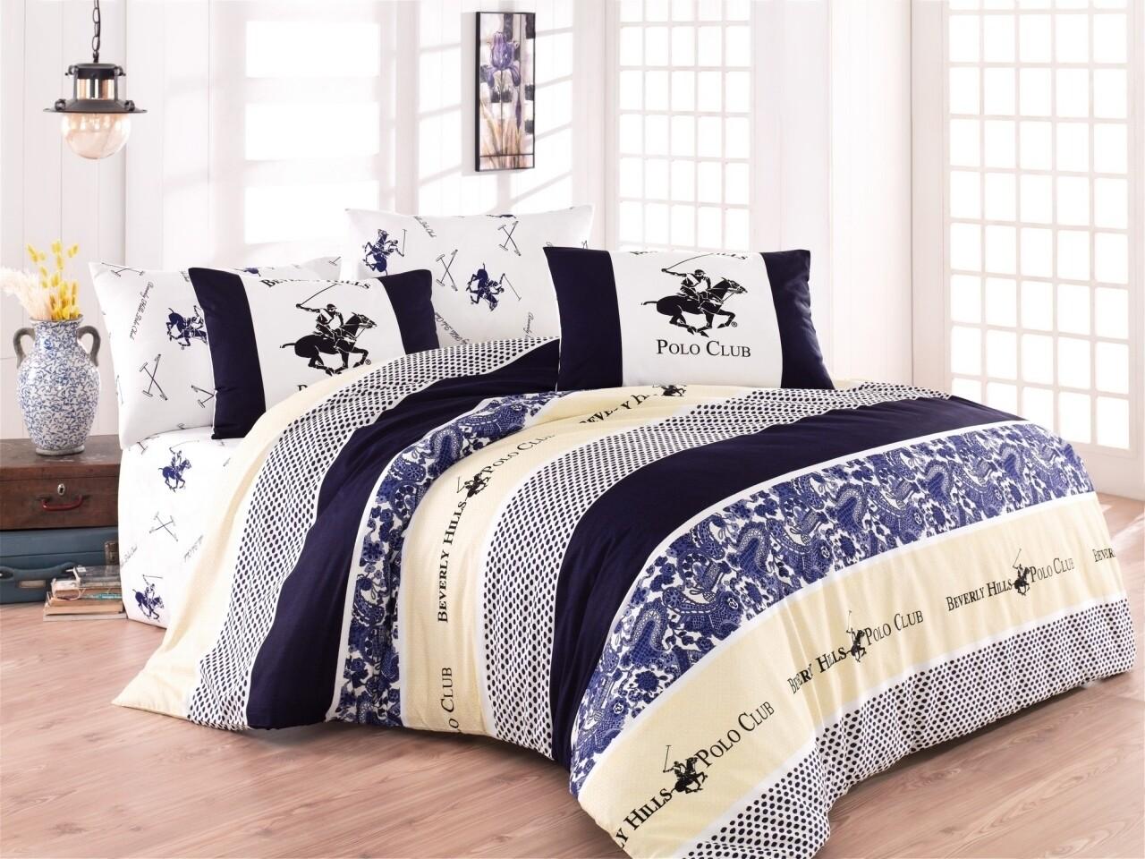 Lenjerie de pat pentru o pesoana, Dark Blue, Beverly Hills Polo Club, 3 piese, 160 x 240 cm, 100% bumbac ranforce, multicolora