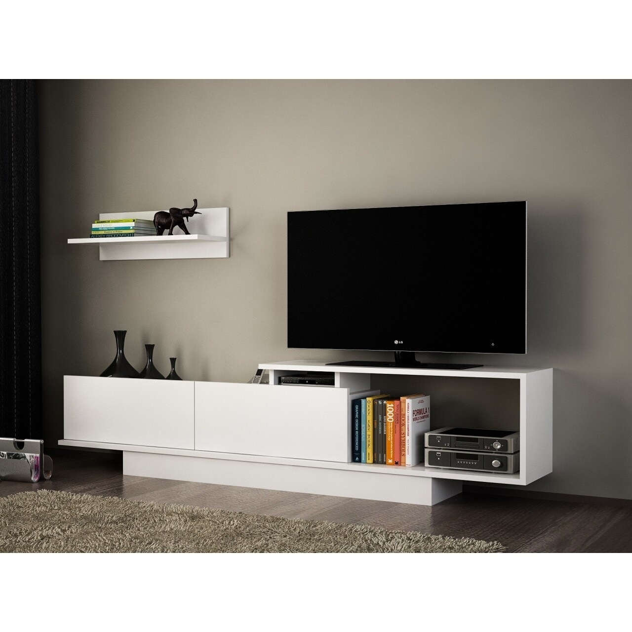 Comoda TV cu dulap, Wooden Art, Asos White