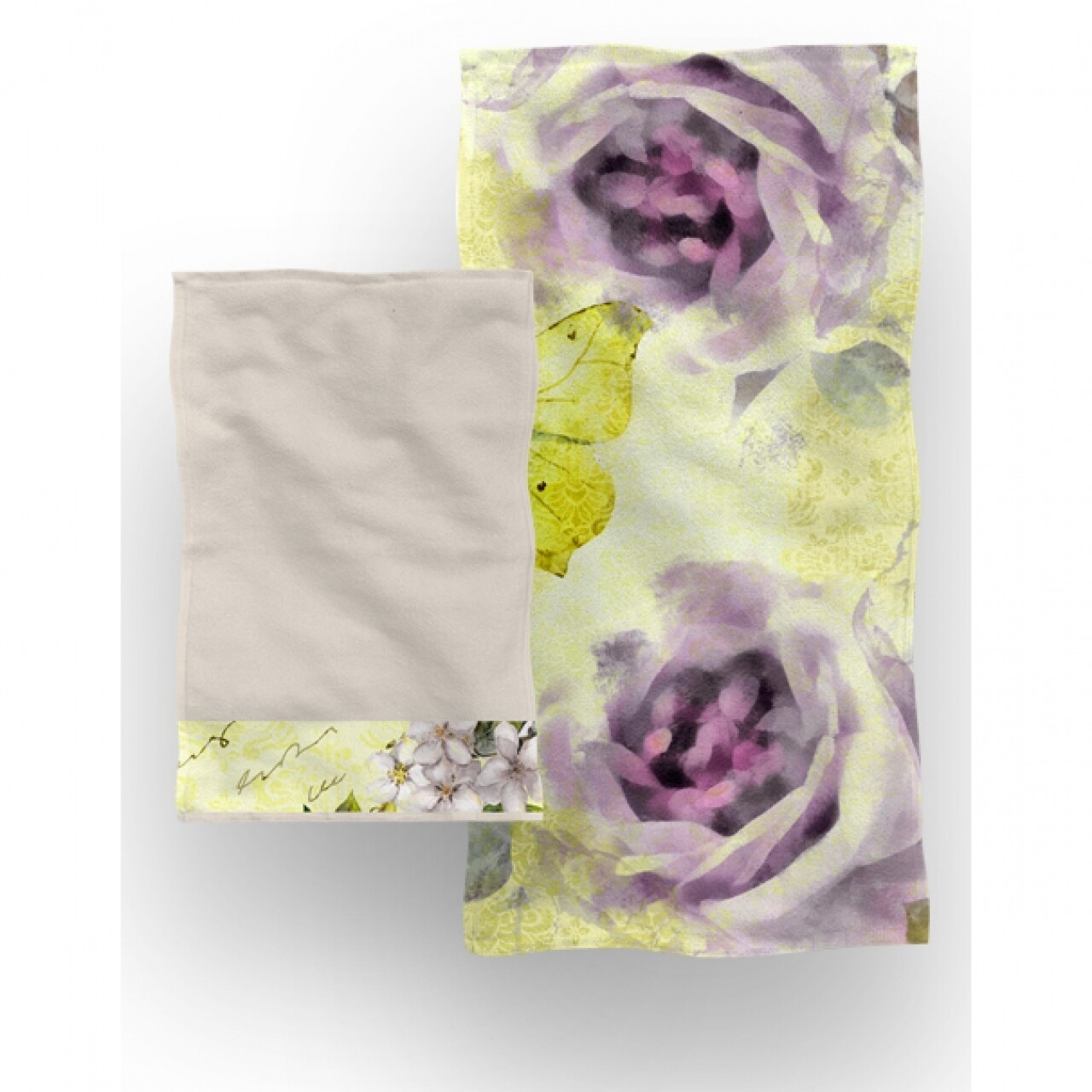 Set 2 prosoape de baie Harmony, Aglika, 50 x 100 cm/ 50 x 30 cm, 70% bumbac, 30% microfibra, multicolor