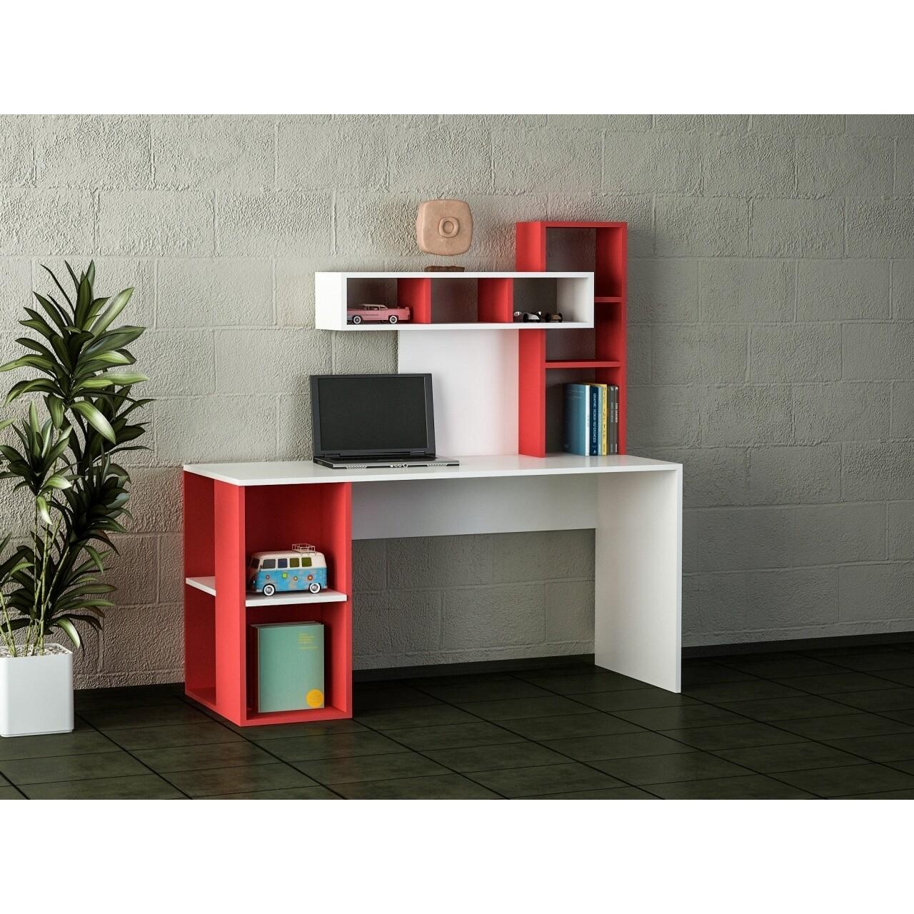 Birou Wooden Art, Coral White Red, 140x153.8x60 cm