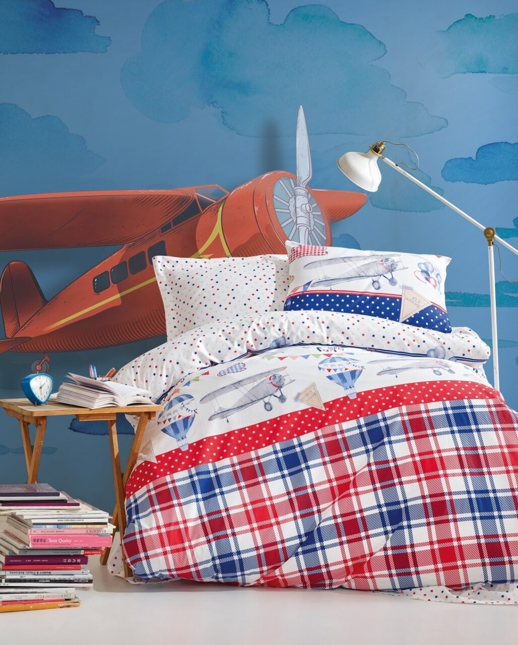Lenjerie de pat pentru o persoana Airballon, Cotton Box, 3 piese, 160 x 240 cm, 100% bumbac ranforce, multicolora