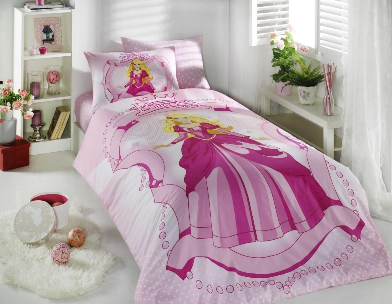 Lenjerie de pat pentru o persoana, 3 piese, 100% bumbac ranforce, Hobby, Princess, roz
