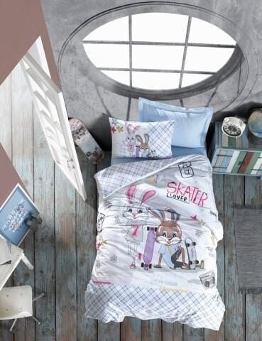 Lenjerie de pat pentru copii Skate, Cotton Box, 3 piese, 160 x 240 cm, 100% bumbac ranforce, multicolora