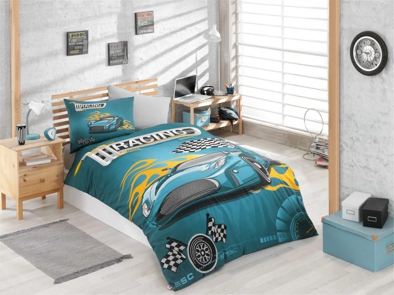 Lenjerie de pat pentru o persoana, 3 piese, 100% bumbac ranforce, Hobby, Racing, turcoaz