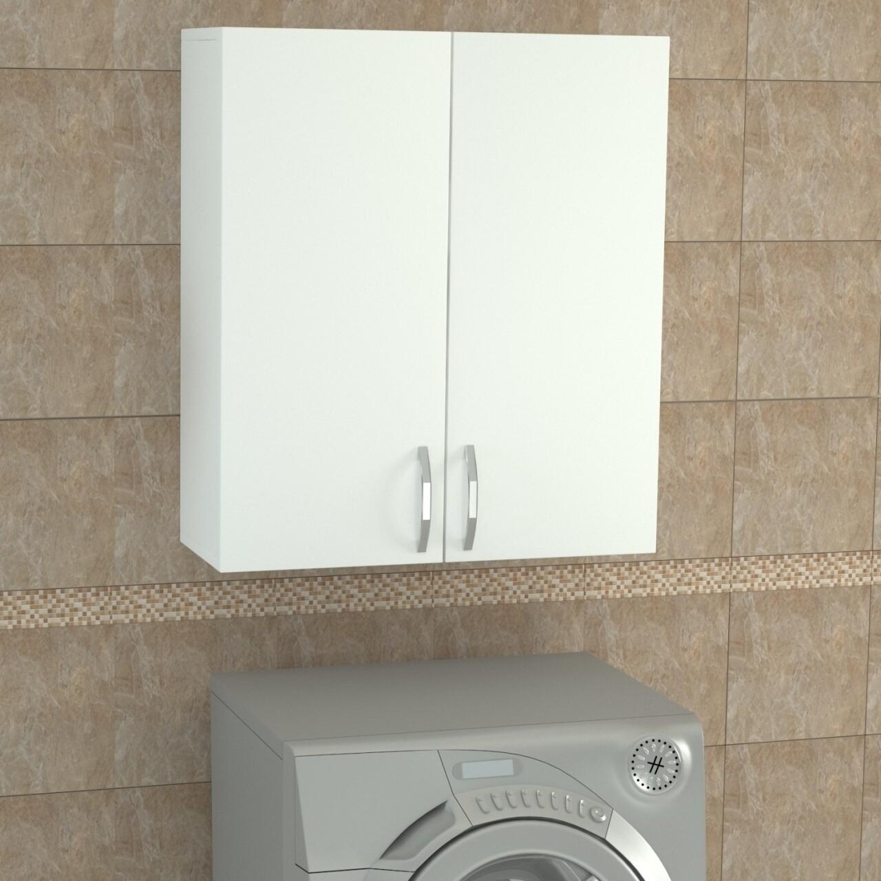 Dulap pentru baie, Wooden Art, Benito Ust White, 70x80x27.1 cm