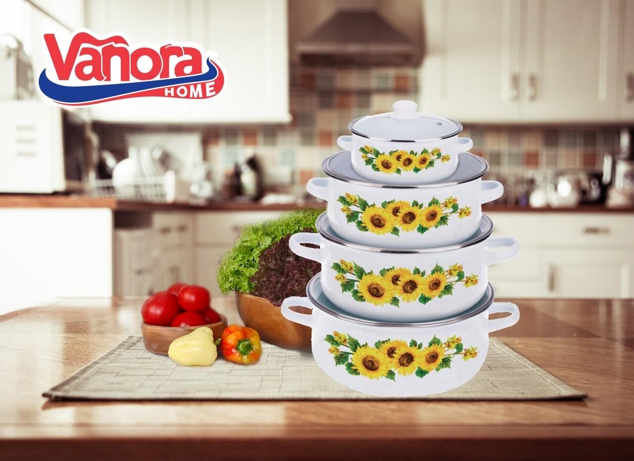 Set de gatit 8 piese, Vanora, Sunflower, 500 ml, 1.5L, 2L, 3L, otel carbon